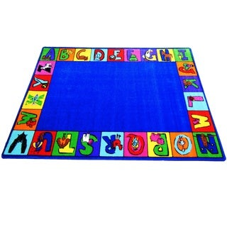 My ABC Squares Multicolored Nylon Tufted Children's Educational and Play Area Rug (6'6 x 8'4)