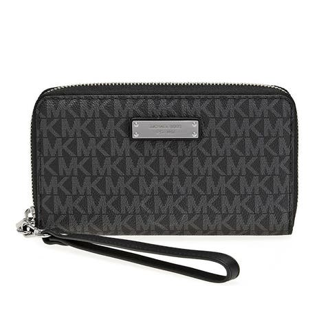 f0c19360a4131d Michael Kors Jet Set Item Large Black Signature Flat Multi Function Phone  Case Wallet