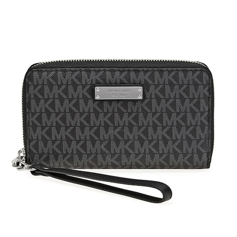 530293e2da18 Michael Kors Jet Set Item Large Black Signature Flat Multi Function Phone  Case Wallet