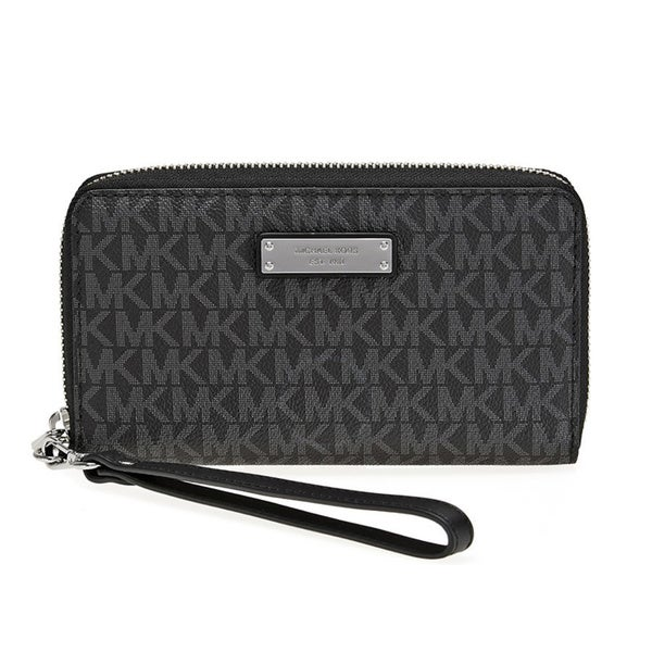7046289d1526 Michael Kors Jet Set Item Large Black Signature Flat Multi Function Phone  Case Wallet