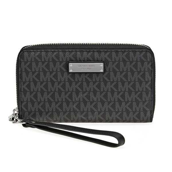 0f6d31b38de8 Michael Kors Jet Set Item Large Black Signature Flat Multi Function Phone  Case Wallet