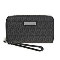 Michael Kors Jet Set Item Large  Black Signature Flat Multi Function Phone Case Wallet