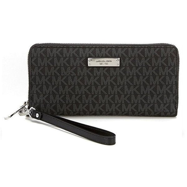 e6c8485b97b7 Shop Michael Kors Jet Set Black Signature Continental Travel Wallet - On  Sale - Free Shipping Today - Overstock - 16589256