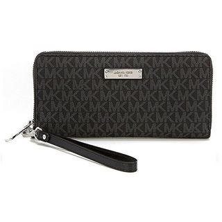 Michael Kors Jet Set Black Signature Continental Travel Wallet