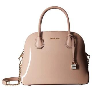 Michael Kors Mercer Pink Leather Ballet Patent Large Dome Satchel Handbag