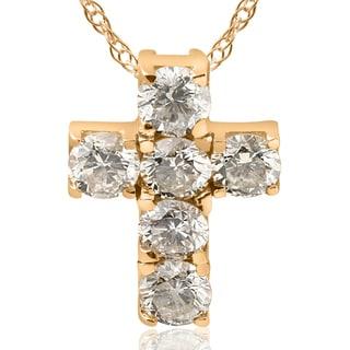 14K Yellow Gold 1 Ct TDW Small Diamond Cross Pendant I J I2 I3 White