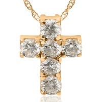 14K Yellow Gold 1 ct TDW Small Diamond Cross Pendant (I-J, I2-I3)