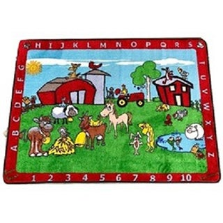 ABC Barnyard Multicolored Nylon Tufted Children's Educational and Play Area Rug (4'4 x 5'6)