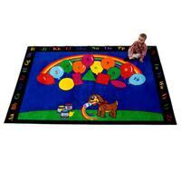 Rainbow Paint Multicolor Nylon Children's Educational Play Area Rug - 5' x 8'