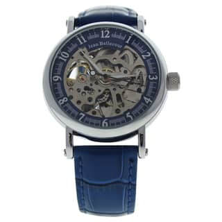 Jean Bellecour REDS29 Silver/Blue Men's Leather Strap Watch|https://ak1.ostkcdn.com/images/products/16589352/P22918892.jpg?impolicy=medium