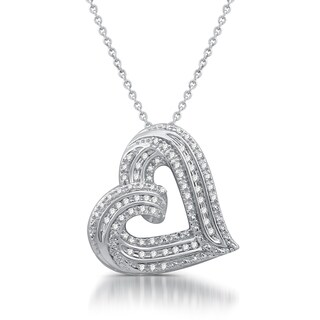 1/4 CTTW Diamond Tilted Heart Pendant in Sterling Silver (I-J, I3)