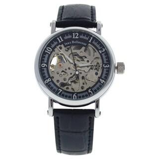 Jean Bellecour REDH2 Silver/Men's Black Leather Strap Watch