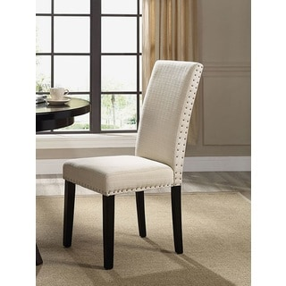 Milton Nailhead Trim Beige Fabric Parson Dining Chair