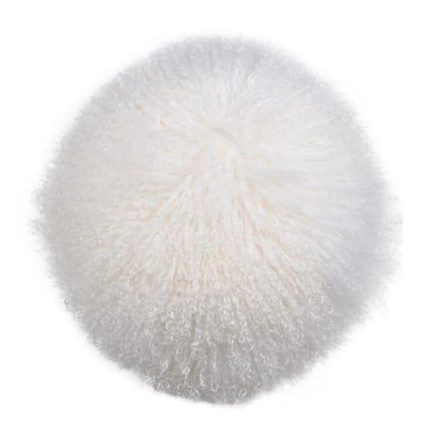 Gila Lamb White Fur Throw Pillow
