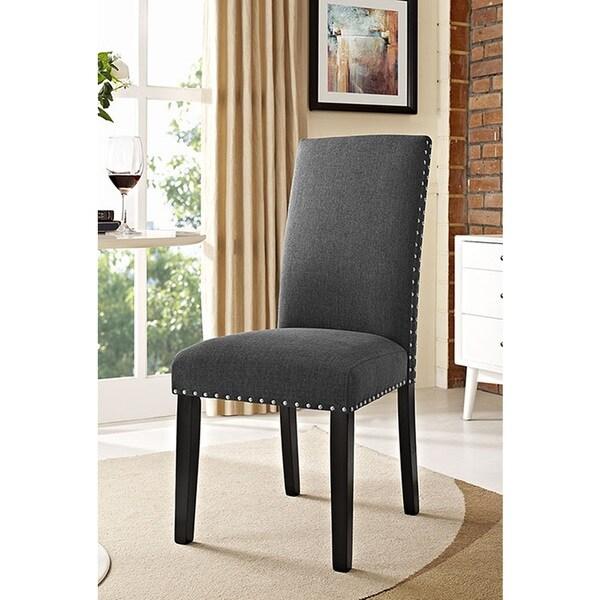 Shop Milton Nailhead Trim Grey Fabric Parson Dining Chair