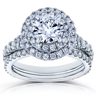 Annello By Kobelli 14k White Gold 2 2 5ct TCW Forever One D F Moissanite And Diamond Double Halo Split Shank Bridal Set