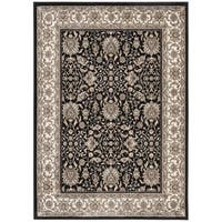 Safavieh Atlas Traditional Oriental Viscose Black/ Ivory Area Rug (5'3 x 7'6)