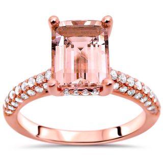 Noori 14k Rose Gold Emerald-cut Morganite Diamond Engagement Ring (SI2-I1, G-H)