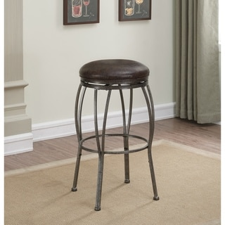 Winona Grey Bonded Leather/Metal Backless Dual Height Stool