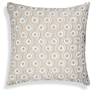 Beige/Off-white Cotton 20-inch Embroidered Floral Throw Pillow