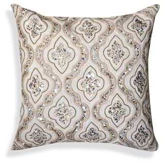 Beige/Gold Embroidered Cotton 20-inch Throw Pillow