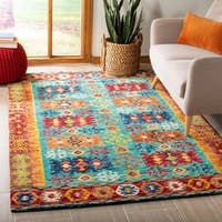 Safavieh Aspen Southwestern Geometric Hand-Tufted Wool Blue/ Red Area Rug - 5' x 8'