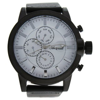Antoneli AG1901-17 Black/Men's Black Leather Strap Watch