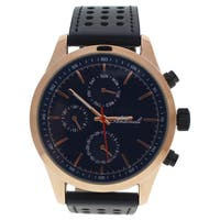Antoneli AG0308-05 Rose Gold/Men's Black Leather Strap Watch