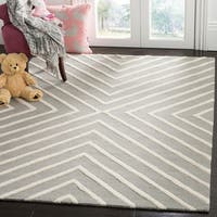 Safavieh Kids Transitional Geometric Hand-Tufted Wool Grey/ Ivory Area Rug - 6' x 9'