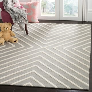 Safavieh Kids Transitional Geometric Hand Tufted Wool Grey Ivory Area Rug 6
