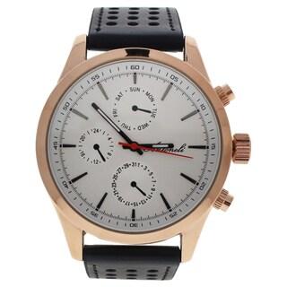 Antoneli AG0308-04 Rose Gold/Men's Black Leather Strap Watch