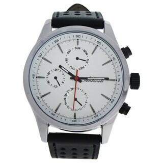 Antoneli AG0308-01 Silver/Men's Black Leather Strap Watch