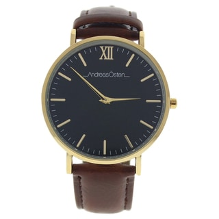 Andreas Osten AO-87 Klassisk - Gold/Brown Men's Leather Strap Watch