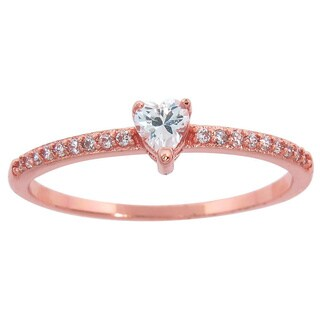 Eternally Haute 14K Rose Gold plated Pave Heart Promise Ring
