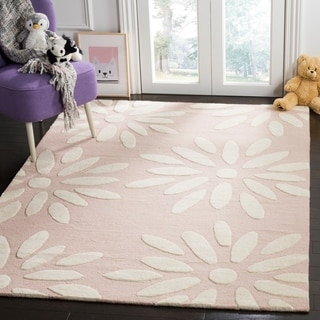 Safavieh Kids Transitional Geometric Hand-Tufted Wool Pink/ Ivory Area Rug (6' x 9')