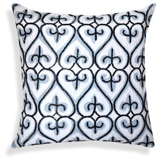 White/Black Cotton 20-inch Handcrafted Embroidered Throw Pillow