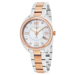 Fendi Women's F218234500D1 'Momento' Mother of Pearl Diamond Dial Two Tone Stainless Steel Swiss Quartz Watch