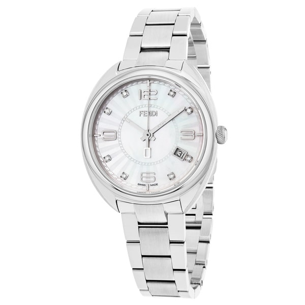 Fendi Women's F218034500D1 'Momento' Mother of Pearl Diamond Dial Stainless Steel Swiss Quartz Watch