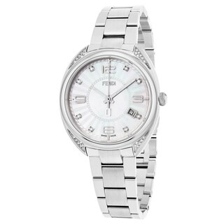 Fendi Women's F218034500C1 'Momento' Mother of Pearl Dial Stainless Steel Diamond Swiss Quartz Watch