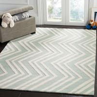 Safavieh Kids Transitional Geometric Hand-Tufted Wool Mint/ Ivory Area Rug - 6' x 9'