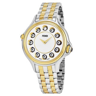 Fendi Women's F107134000T06 'Crazy Carats' Silver Dial Two Tone Stainless Steel Swiss Quartz Watch