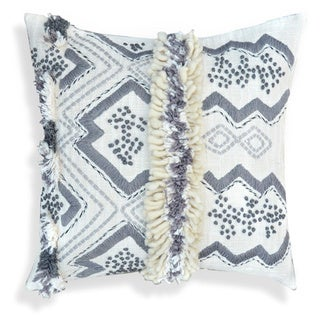 Grey/Off-white Organza Cotton 20-inch Handcrafted Morrocan Decorative Throw Pillow