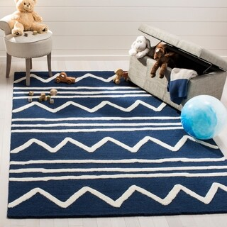 Safavieh Kids Transitional Geometric Hand-Tufted Wool Navy/ Ivory Area Rug - 6' x 9'