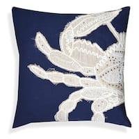 Blue/Beige Cotton 20-inch Handcrafted Half-crab Throw Pillow