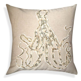 Beige/Brown Cotton 20-inch Handcrafted Octopus Throw Pillow