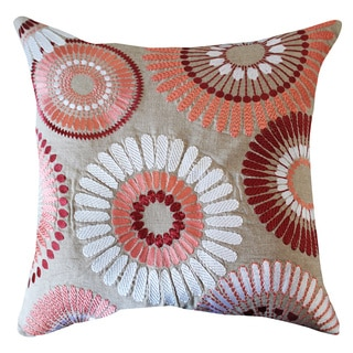 Pink and Beige Cotton 20-inch Floral Throw Pillow