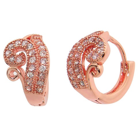 Eternally Haute 14K Rose Gold plated Pave Flower Hoop - Pink