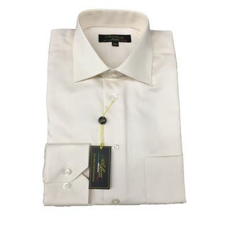 Polifroni Men's Ecru Off-white Cotton Long-sleeve Button-down Shirt 17L Size(As Is Item)|https://ak1.ostkcdn.com/images/products/16591659/P91021662.jpg?impolicy=medium