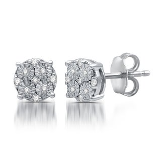 1/10 CTTW Diamond Composite Stud Earrings In Sterling Silver (I-J, I3)