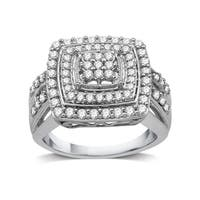 1 CTTW Diamond Cluster Square-Framed Ring in Sterling Silver (I-J, I3) - White I-J